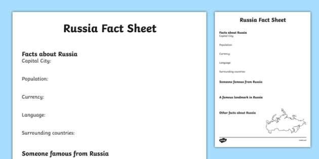 Russia Factsheet Writing Template - russia, russia fact sheet