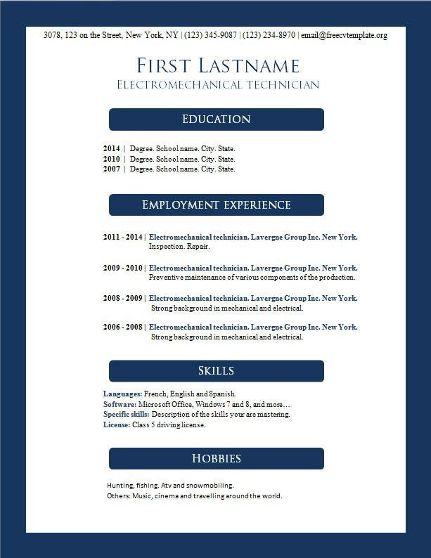 Templates For Resumes Microsoft Word. Sample Resume Ms Word Word ...