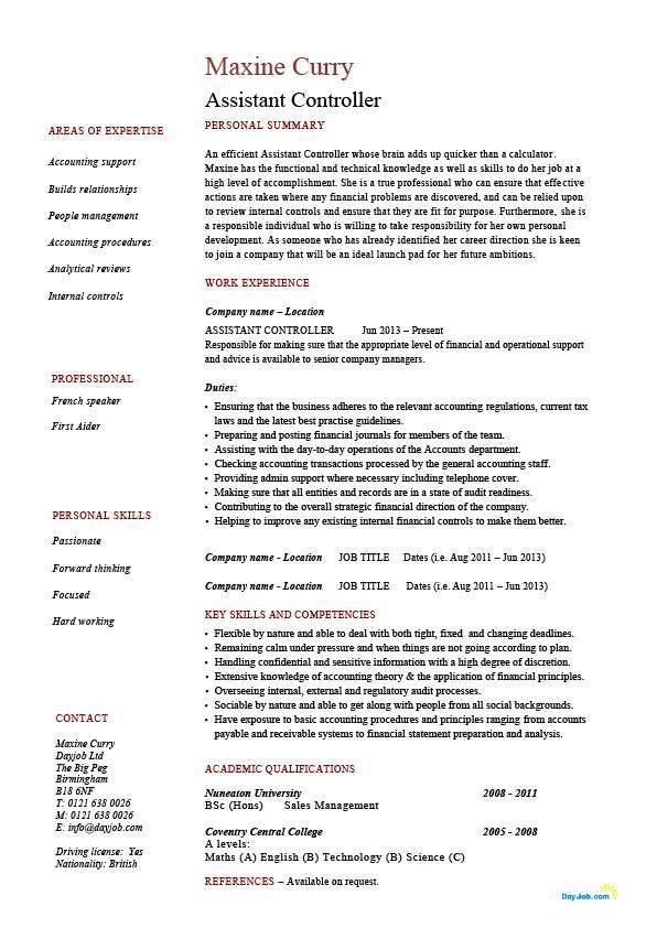 Assistant controller resume, sample, example, accounting, finance ...