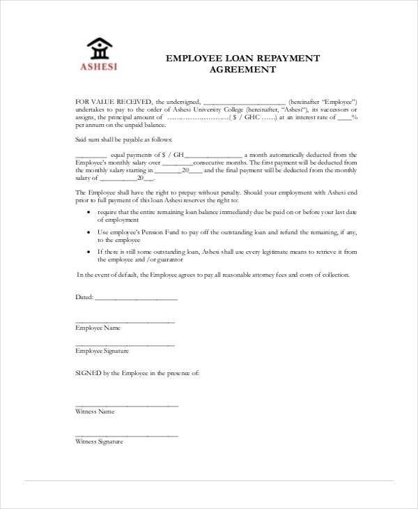 Loan Repayment Agreement Form [Nfgaccountability.com ]