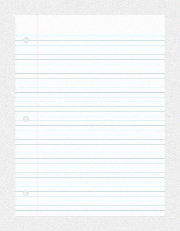 11 Notebook Paper PSD Images - College Ruled Notebook Paper, Loose ...