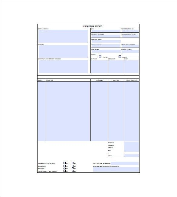 Proforma Invoice Template - Free Excel, Word, PDF Documents ...