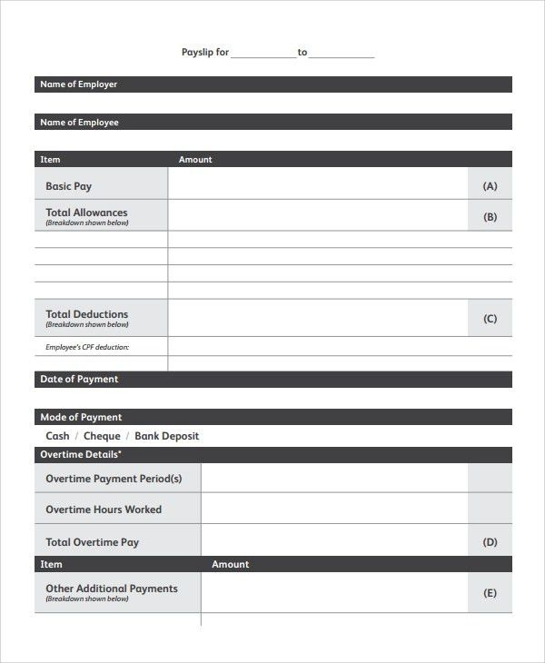 Sample Payslip Templates   8+ Free Documents Download In PDF, Word  Free Payslip Templates