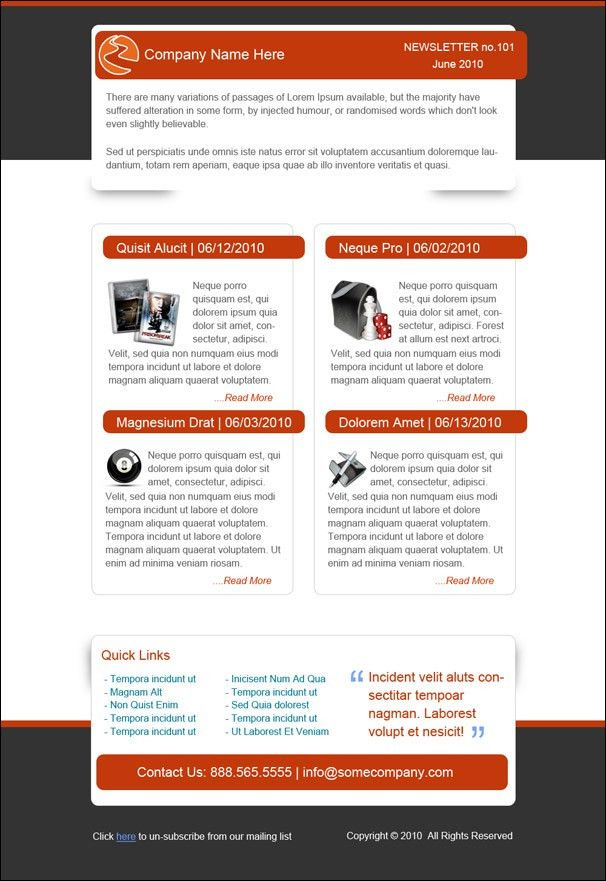 Email Newsletter. Smart 20 Free Business Newsletter Templates To ...