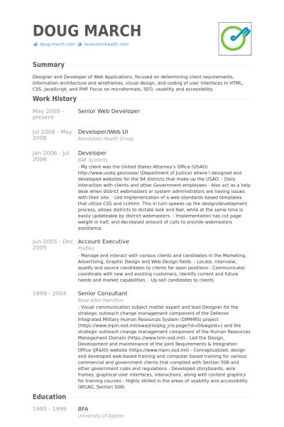 Senior Web Developer Resume samples - VisualCV resume samples database