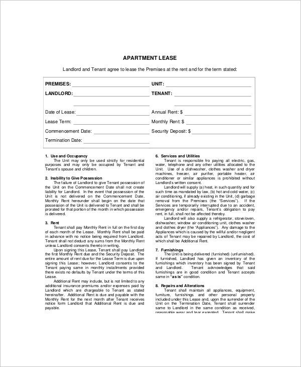 3+ Apartment Lease Templates - Free Sample, Example, Format | Free ...