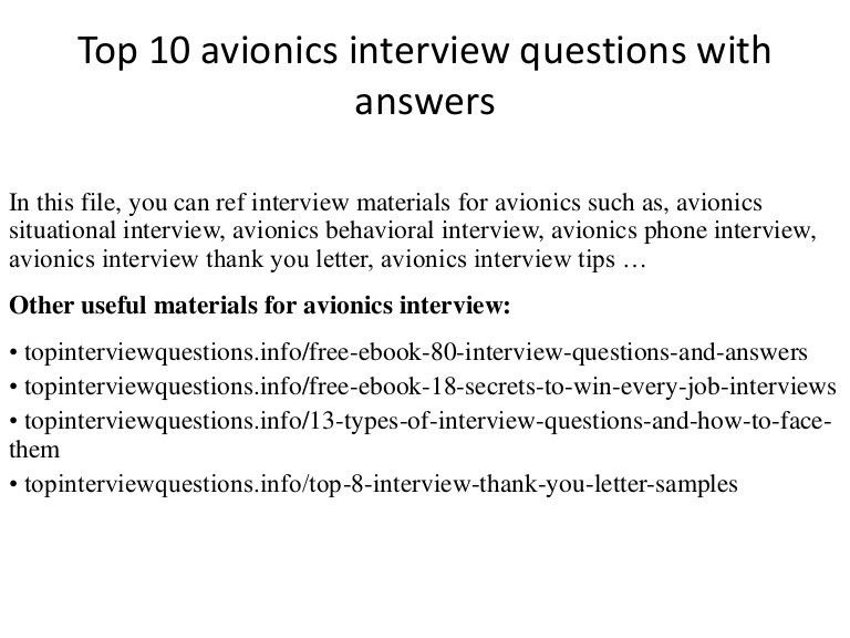 Top 10 avionics interview questions with answers