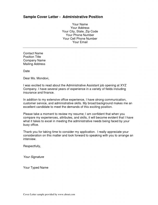 cover. administrative position cover letter 5 resume samples ...