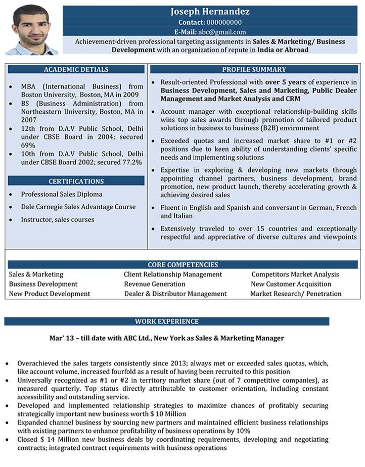 sample resume for sales and marketing online marketing manager
