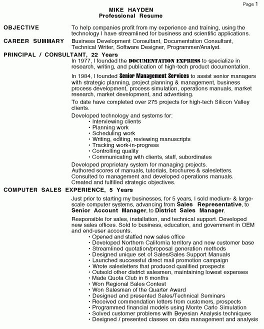Personal Resume Page 1 - Management Consulting Freelance writer ...