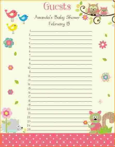 3 baby shower guest list | Outline Templates