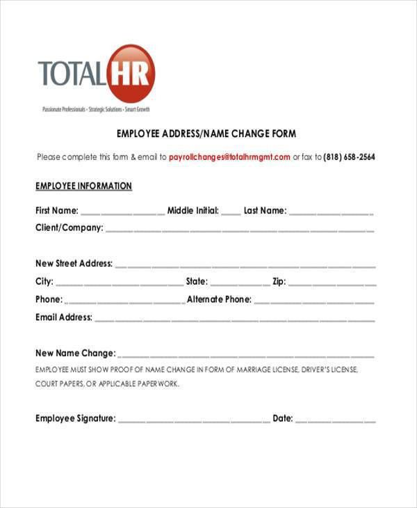 Sample Employee Name Change Forms - 7+ Free Documents in Word, PDF