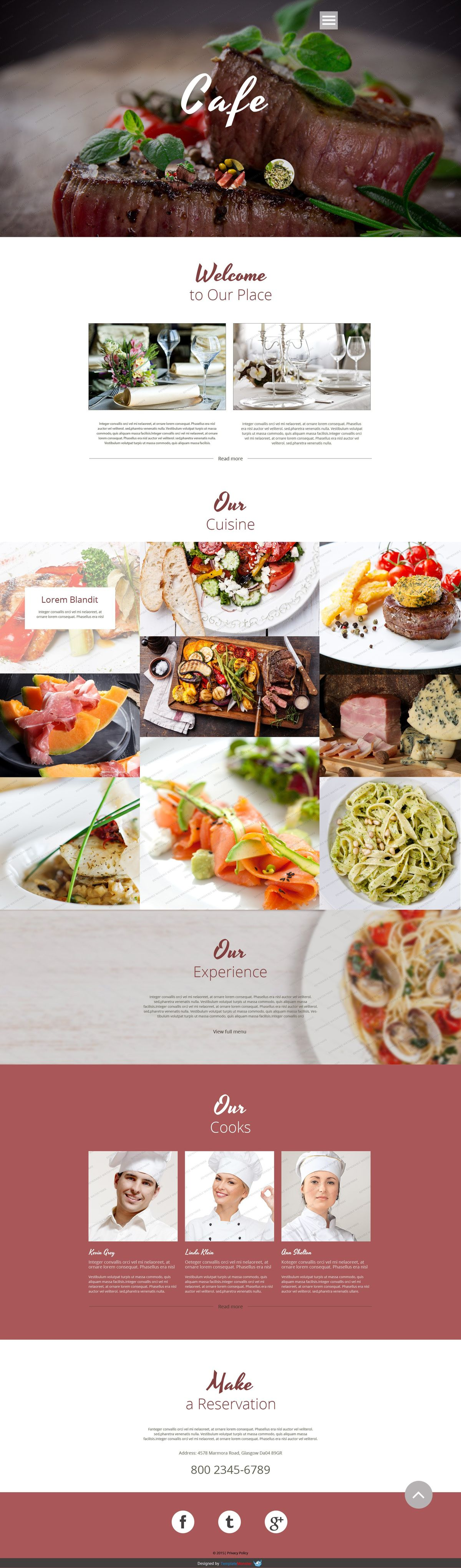 Cafe & Restaurant Free Website Templates