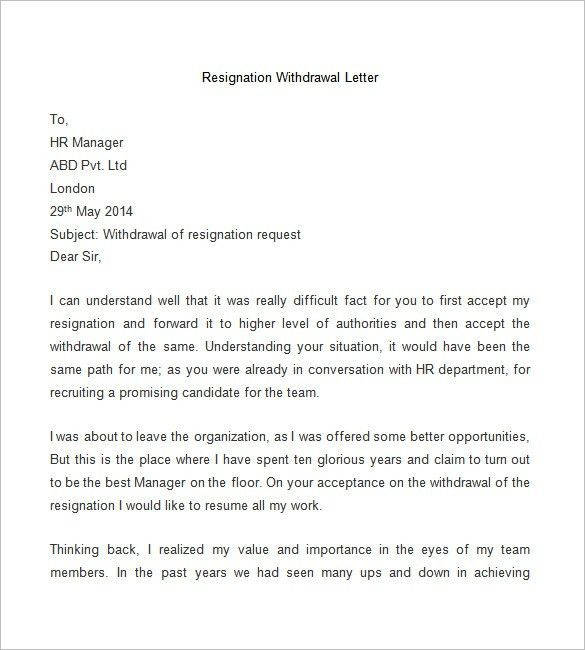 Cancellation Of Resignation Letter Samples - Resume Layout 2017