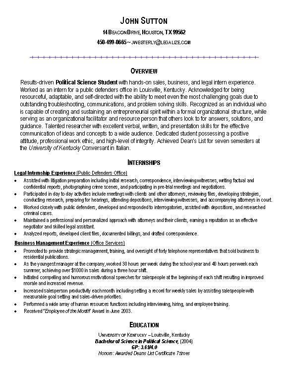 how to make a resume for an internship