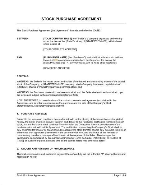 Stock Purchase Agreement - Template & Sample Form | Biztree.com