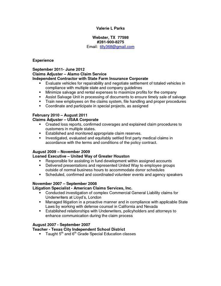 Claims Adjuster Resume Sample - http://resumesdesign.com/claims ...