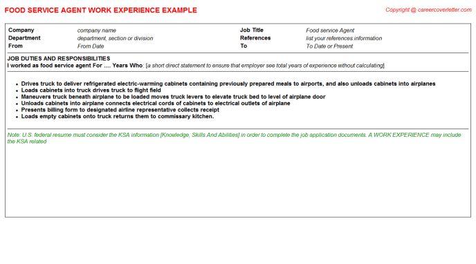 Food Service Agent Job Title Docs