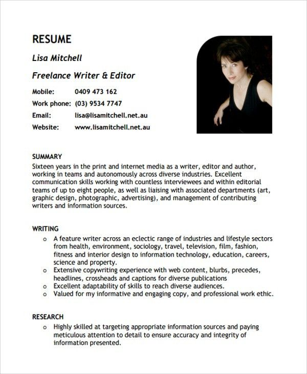 Sample Freelance Resume Template - 8+ Free Documents Download in ...