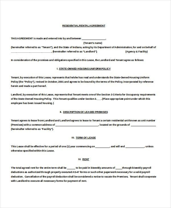 Residential Rental Agreement – 11+ Free Word, PDF Documents ...
