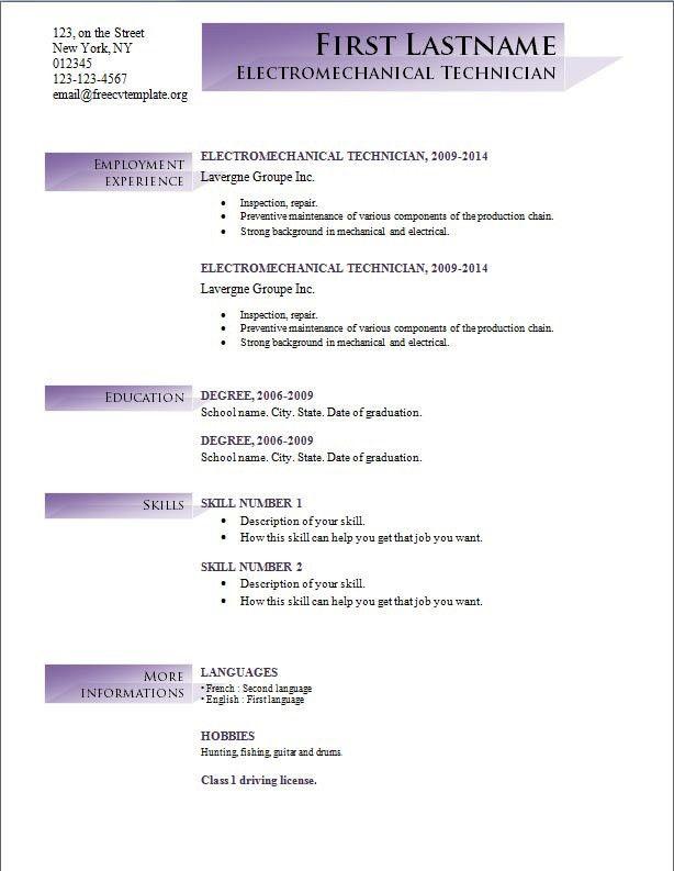 Basic Resume Template Word. Free Resume Sample Free Resume ...