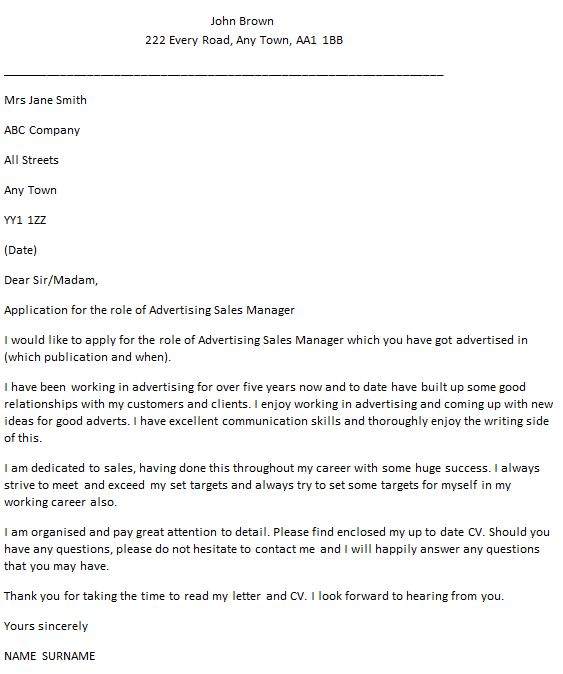 Advertising Sales Manager Cover Letter Example - icover.org.uk