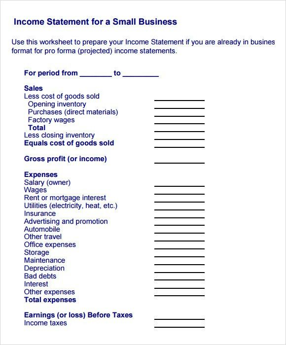 Sample Income Statements. Top 5 Resources To Get Free Income ...