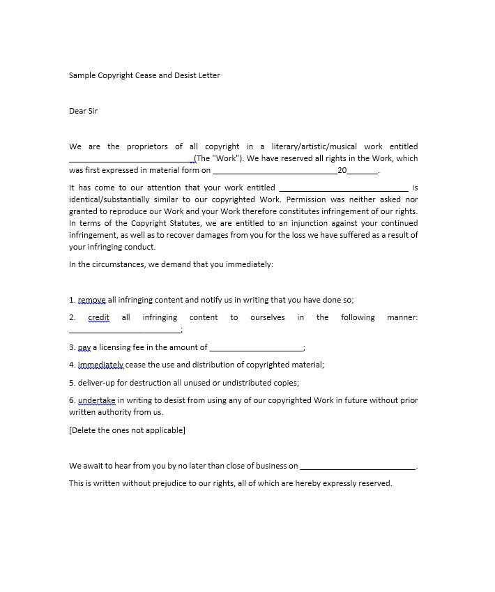 Free Cease And Desist Letter Template Copyright Infringement ...