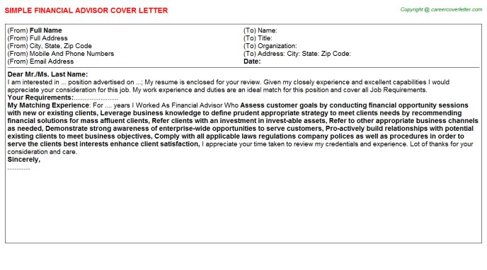 Edward Jones Financial Advisor Cover Letters