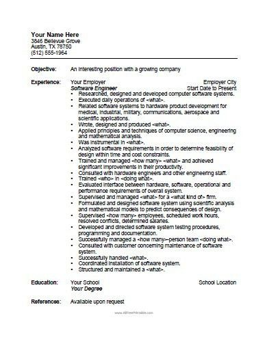 Software Engineer Resume Template - Free Printable ...