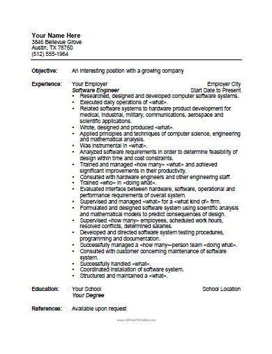 Software Engineer Resume Template - Free Printable ...