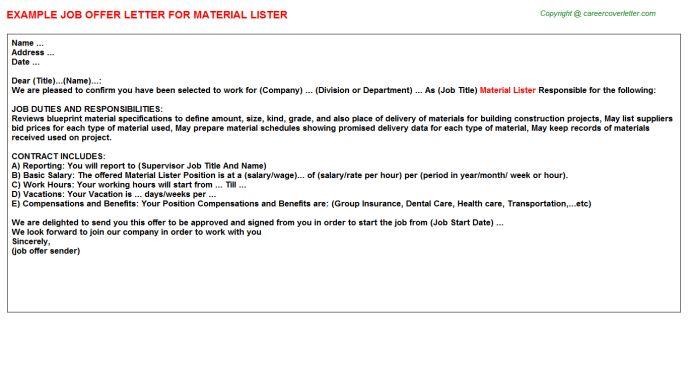 Material Lister Offer Letter