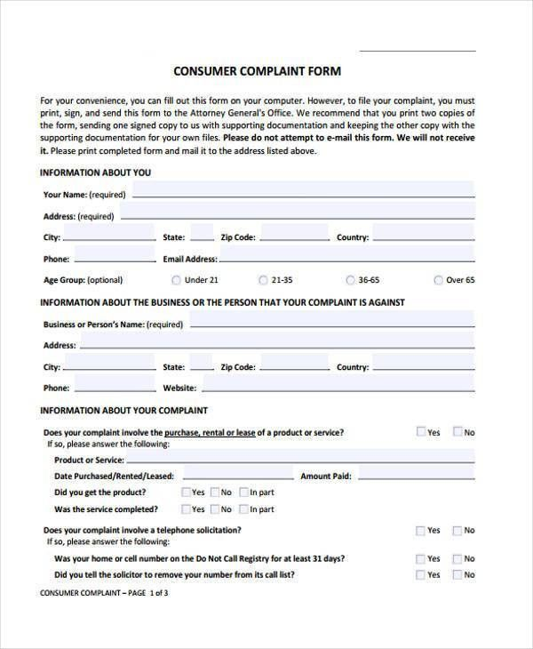 Sample General Complaint Forms - 7+ Free Documents in Word, PDF