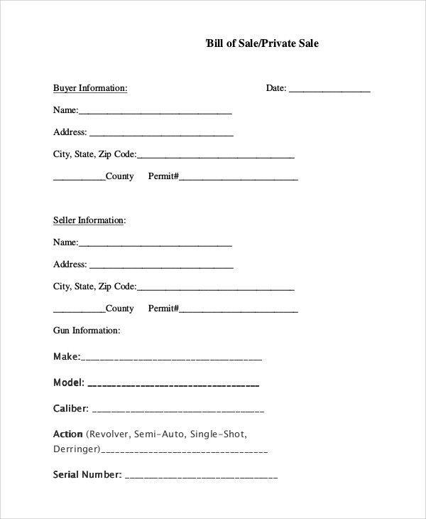 Sample Bill of Sale For Gun - 8+ Examples in PDF