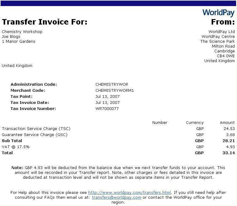 Transfer Invoice
