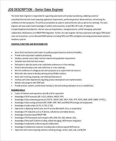 Sales Engineer Job Description Sample - 9+ Examples in PDF