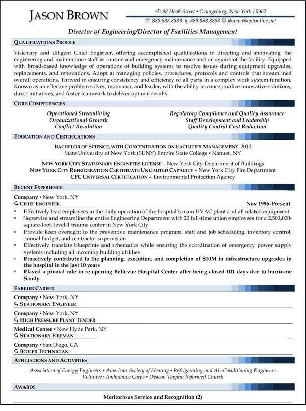Director of Facilities Management Resume (Sample) | Resume Samples ...