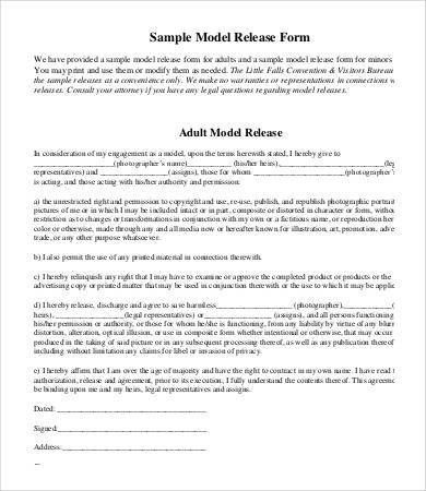Model Release Form Template - 8+ Free Sample, Example, Format ...