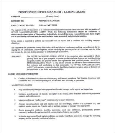 Leasing Consultant Job Description - 5 Free PDF Format Download ...