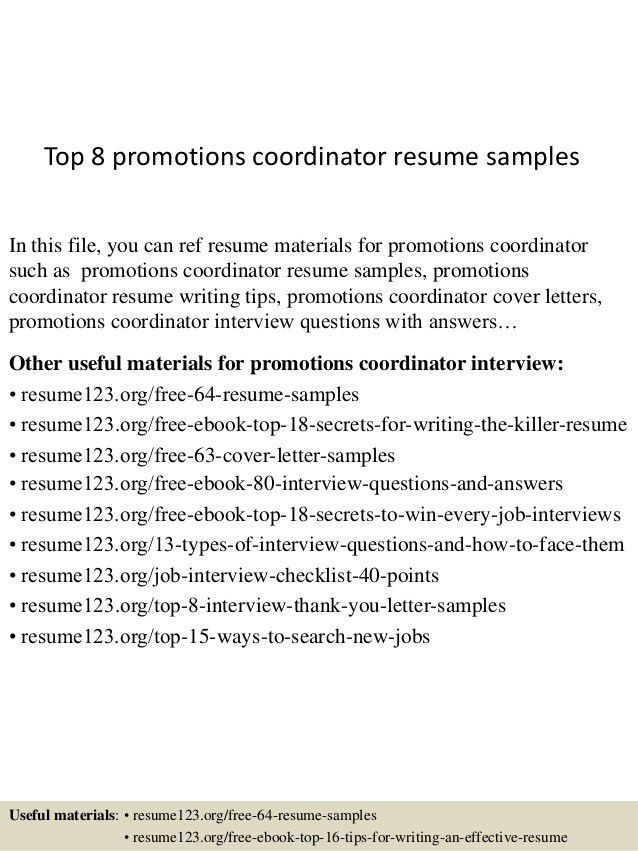 promotional resume sample resume program coordination and