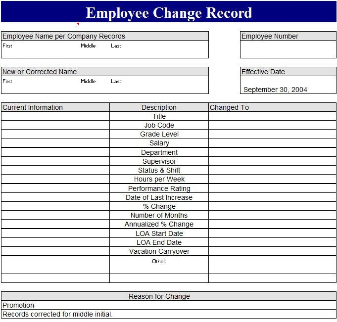 Employee Change Record Template - My Excel Templates