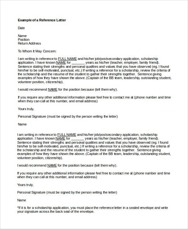Sample Reference Letter for Friend - 8+ Examples in PDF, Word