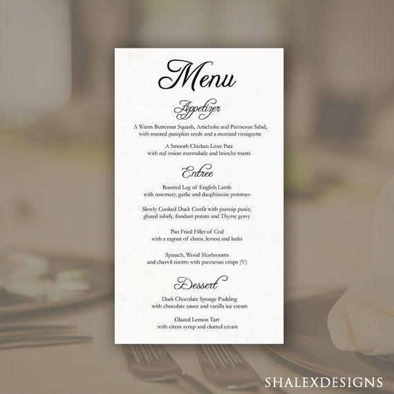 46 best Wedding Menu Templates images on Pinterest | Menu ...