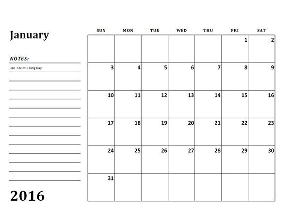 2016 Monthly Calendar Template 03 - Free Printable Templates