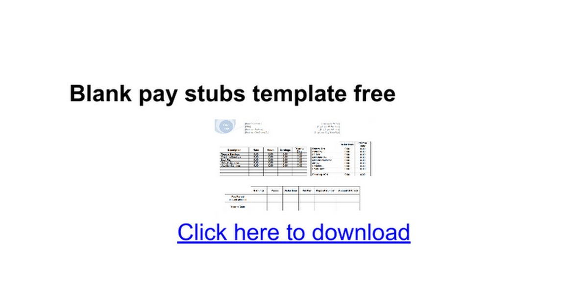 Blank pay stubs template free - Google Docs