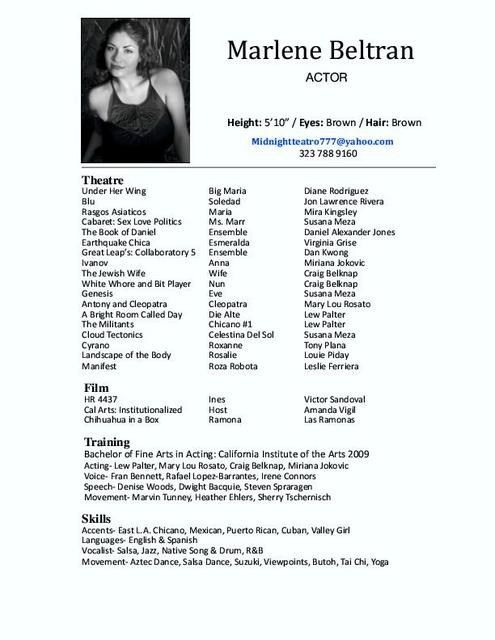 resumes are one of the key ingredients in getting an acting career ...