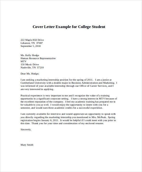cover letter for college internship cover letter for internship sample cover letter for internship 9 examples in word pdf