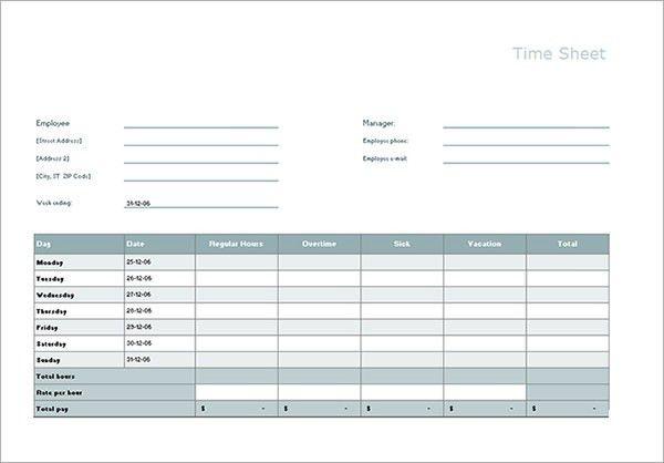 Free Timesheet Calculator Template | Printable Calendar Templates