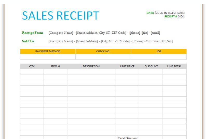 Sales receipt template (For Word) - Dotxes
