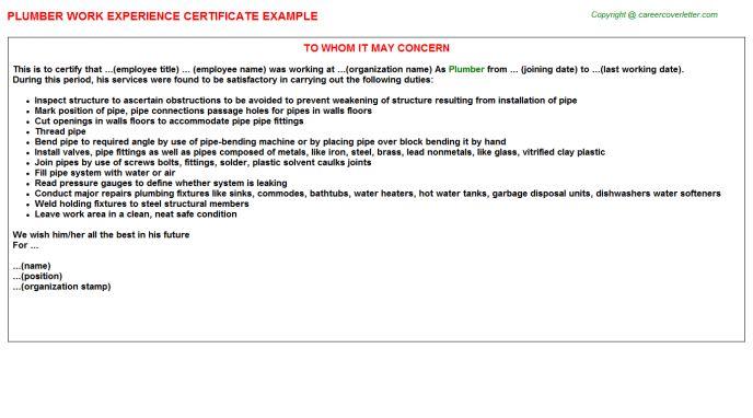 Plumber Work Experience Certificate